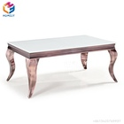 round rose gold stainless steel round rectangle marble glass top coffee table