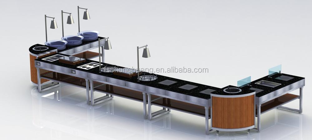 Fan Shape Plate Warmer Buffet Counter Wooden
