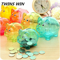 Hot sale in Yiwu market daily necessity products for children cute pig design plastic transparent piggy bank