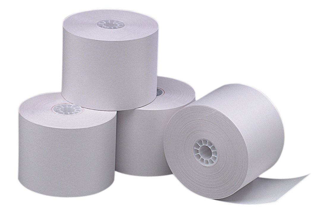 PM Company Perfection One Ply Blended Bond Paper Rolls, 2.25 X 165 Feet, White, 100 Rolls Per Carton (07924)