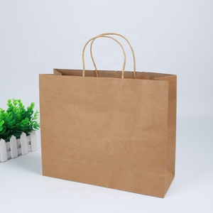 Custom Brown Color Printed Logo Clothing Shopping Handle Paper Bag