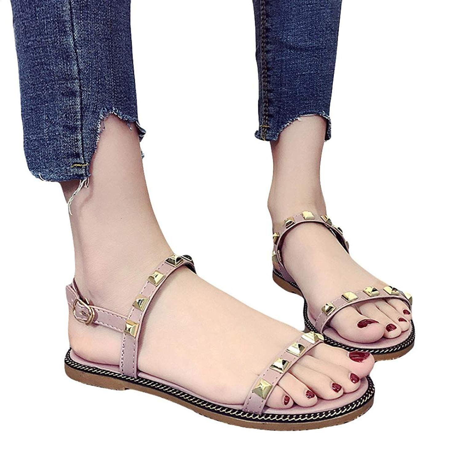 2ffae9eda131ac Get Quotations · Pervobs Sandals Women Flat Heel Casual Sandals Basic  Buckle Strap Female Pretty Rivet Sandals Shoes