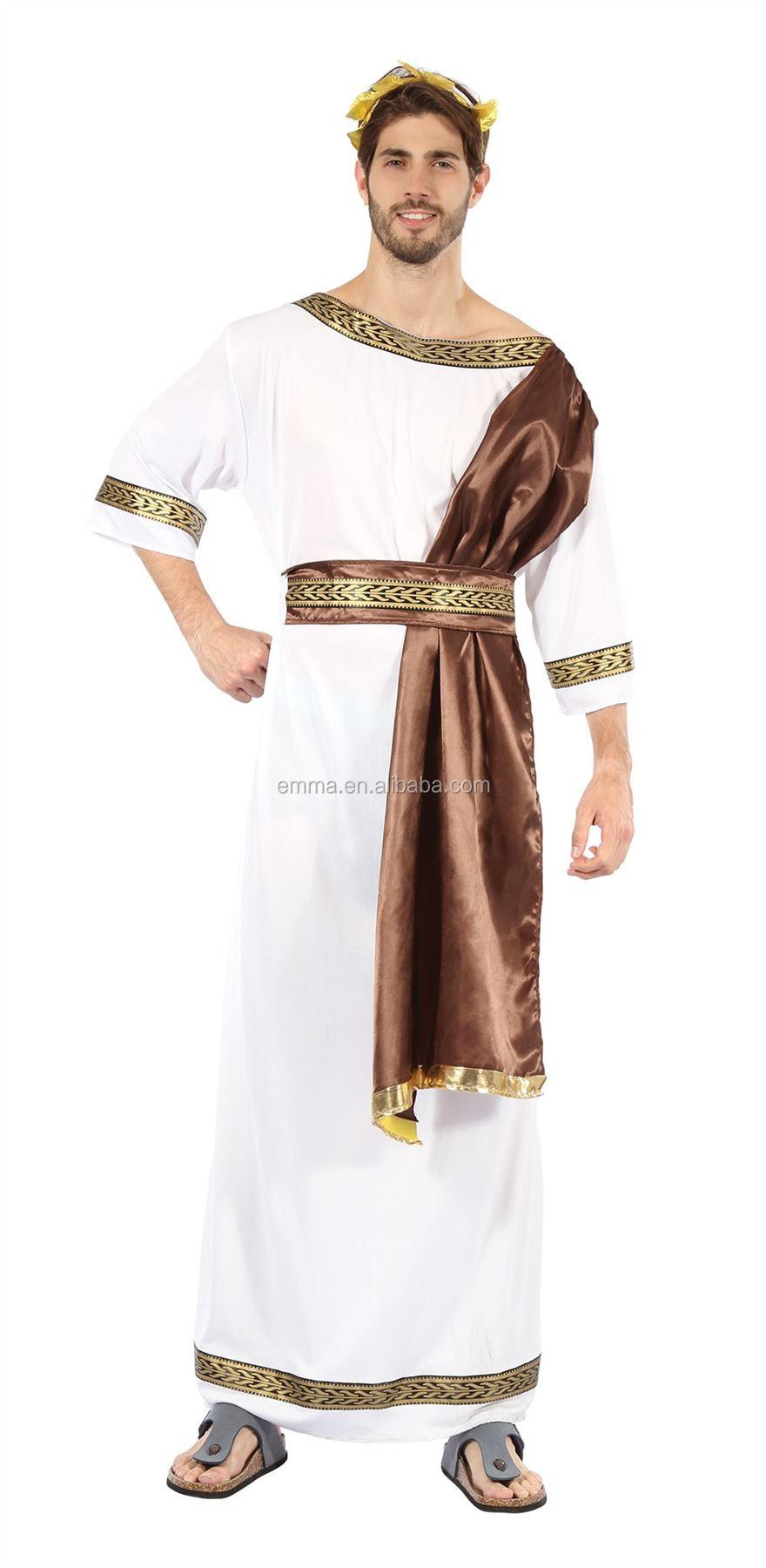 Greek God Or Goddess Costume Great Toga Fancy Dress Headpiece Red