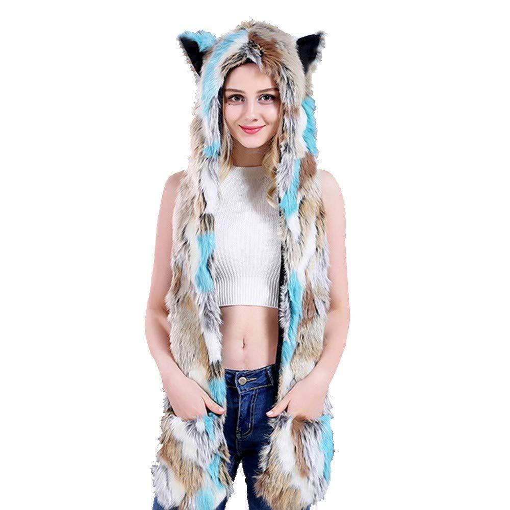 Yuxikong Women's Fox Faux Fur Coat, Winter Chic Luxury Fluffy Hoodie Scarfs