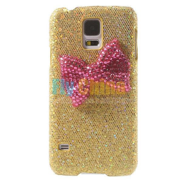 1PCS Phone case For Samsung Galaxy S5,Diamante Bowknot Sequins Leather Coated Plastic Case For Samsung Galaxy S5 G900