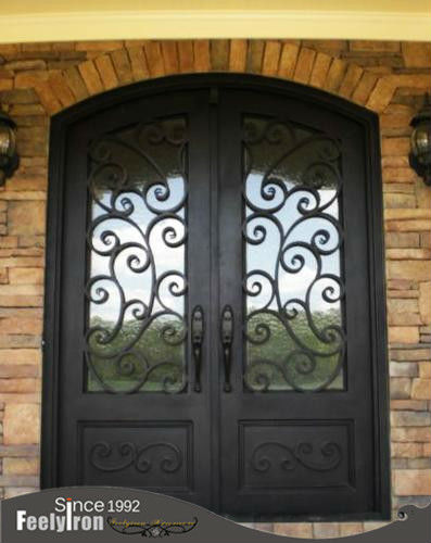 arched top exterior Wrought Iron Entry double Doors FD-027