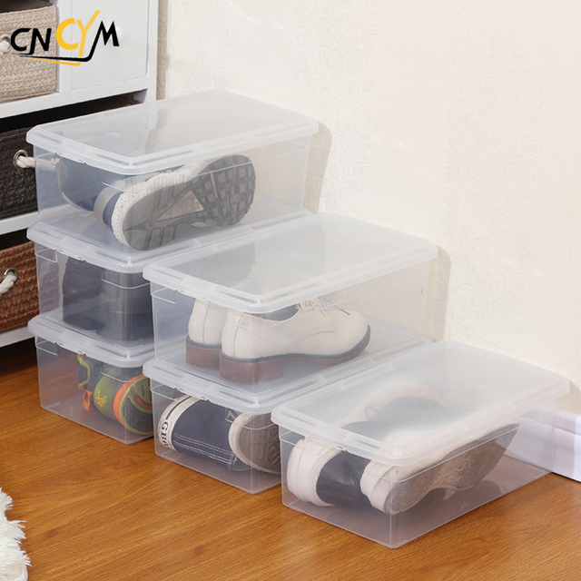 Plastic PP Clear Transparent Shoe Box, Small Stackable Storage Box,sneaker Storage  Box