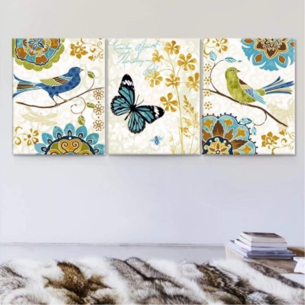 Wowdecor Paint by Numbers Kits for Adults Kids, Painting by Numbers 3 Pieces Pack - Summer, Birds and Butterflies 16x20x3P inches (Framed)