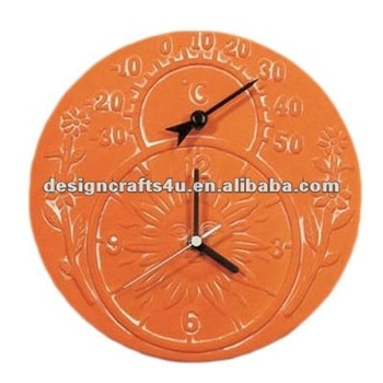 Attractive Large Round Terracotta Garden Clock Thermometer