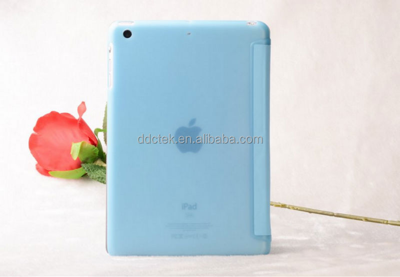 New arrival PC matte base PU leather cover case for ipad air 2 Blue custom