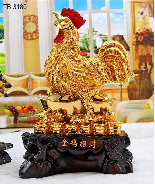 d 39 or d coration feng shui chanceux zodiaque bijoux corne d 39 abondance de r sine de poulet coq. Black Bedroom Furniture Sets. Home Design Ideas