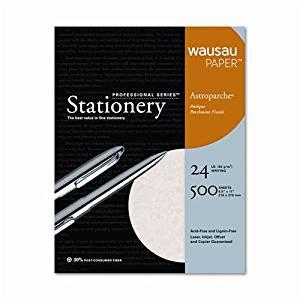 Wausau Paper™ Astroparche Fine Business Paper, Natural, 24lb, Letter, 500 Sheets per Box