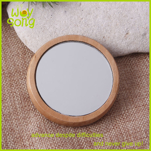 Latest fashion gift portable cosmetic mirror wooden compact mirror