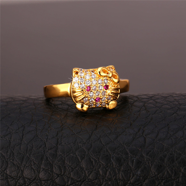 0f4da2280 Japan and South Korea fashion jewelry, manufacturers wholesale, Kitty  lovely ring, full drill