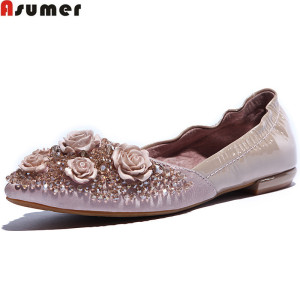 Asumer DX-33899-3 new arrival spring rhinestone flower sweet fashion women pumps genuine leather+pu leather shoes