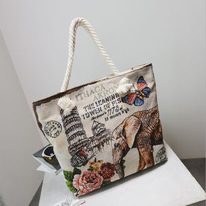 china factory direct wholesale embroidered rope handle cute ladies cloth canvas bag large tote bag