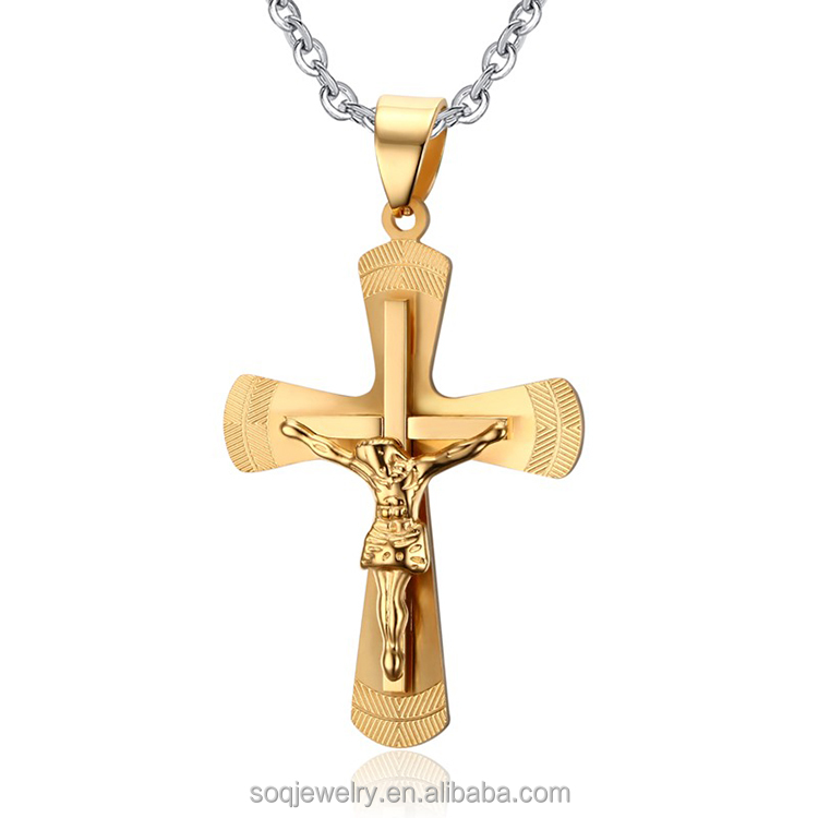 Customized simple gold chain high polished cross with Jesus necklace alibaba com