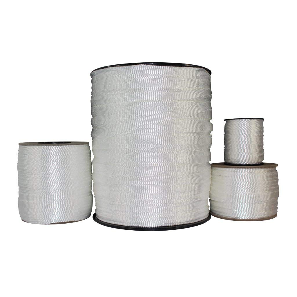 Polyester Pull Tape (5/8 inch) - SGT KNOTS - Professional Grade Pre-Lubricated Polyester Mule Webbing - Lightweight Flat Rope - Crafting, Commercial Electrical, Tie Downs, More (100 ft - White)