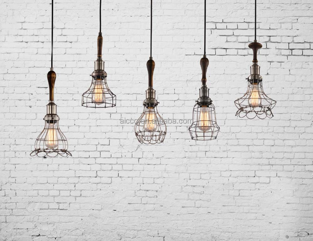 decorative pendant lighting vintage industrial style lights edison bulb with wooden wire cage pendant light cage pendant lighting