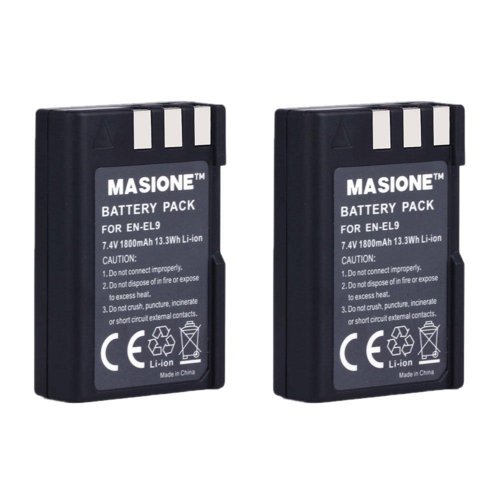 2 Pack Masione 7.4V 1800mAh Nikon EN-EL9 EN-EL9A Battery for Nikon D40 D40x D60 D3000 D5000 Camera
