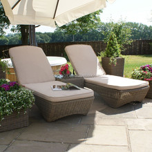 UK style garden leisure ways rattan sun bathing chairs and coffee table set outdoor high chaise lounge