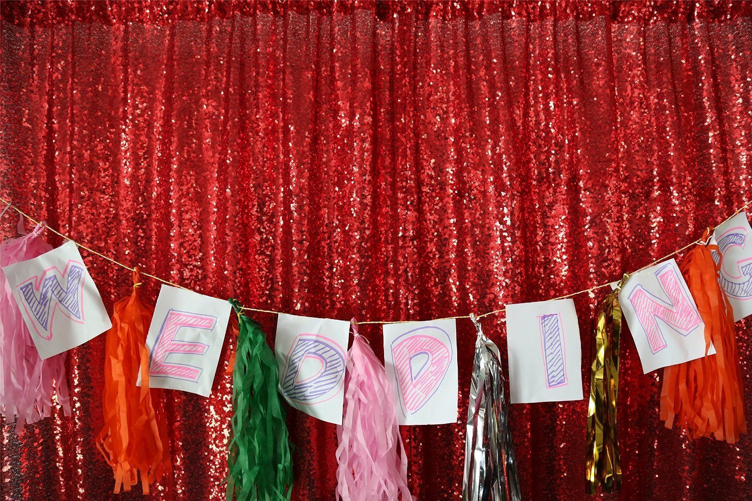Buy ShinyBeauty 7FTX7FT-Red-Sequin Backdrop/Curtains, Photo Booth ...