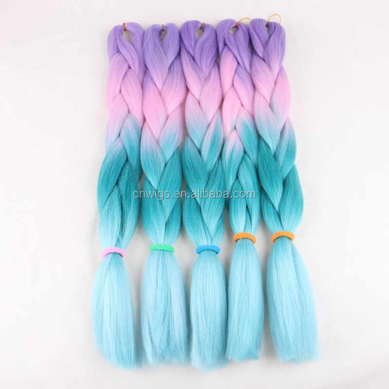 WHOLESALE beautiful synthetic ombre braiding hair jumbo box braids for making small twist braiding hair extensions