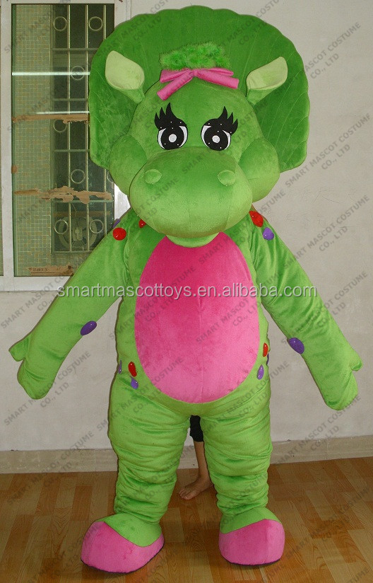 Professional cartoon character plush green dinosaur mascot costume for adult