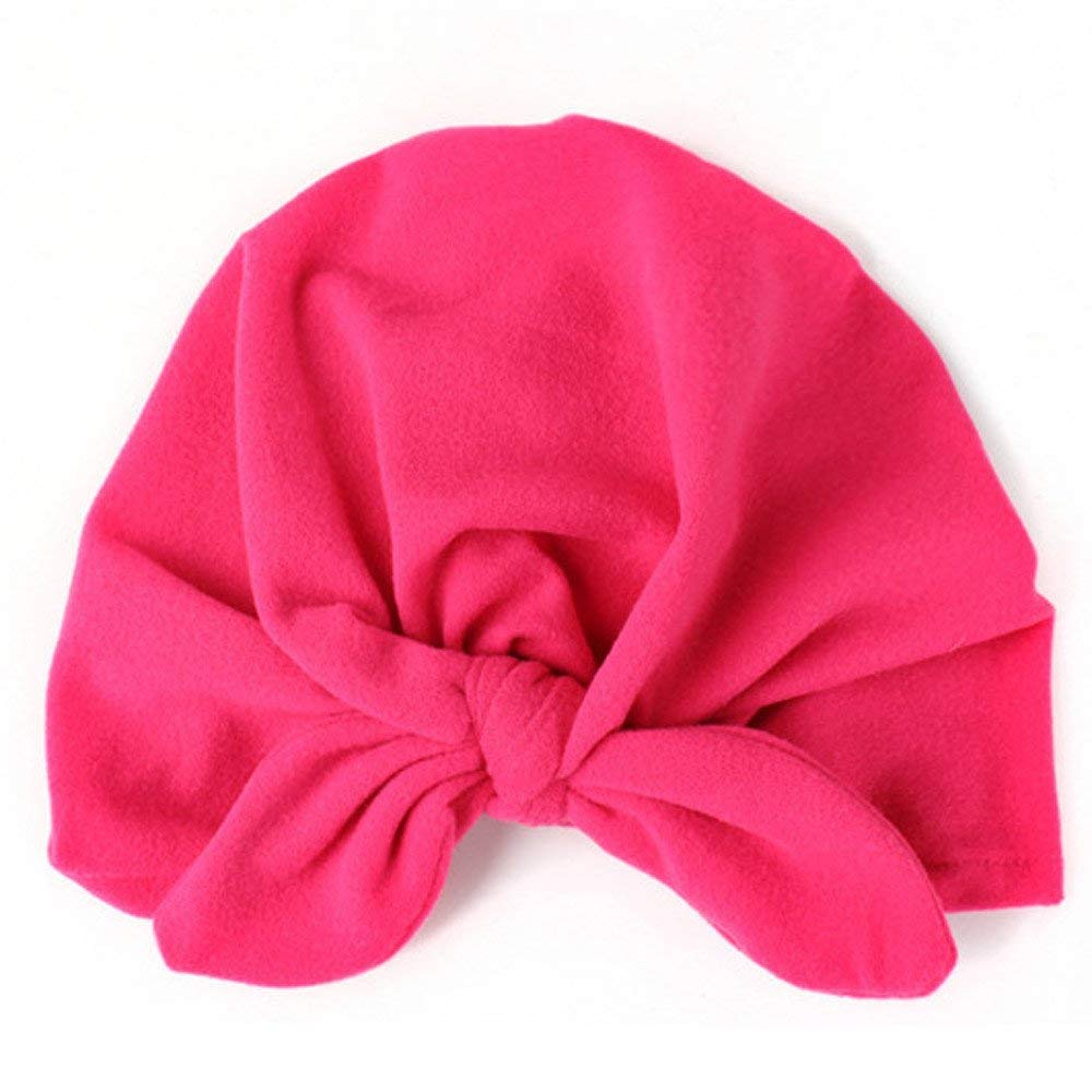 Jshuang Rabbit Ears Knotted Bow Hat, Baby Toddler Kids Boy Girl Bowknot Lovely Soft Hat (Hot Pink)