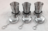 MOQ:200pcs Metal Stainless Steel 60/150/250ml Folding Cup/Collapsible Shot Glass With Customized Laser/Printing Logo