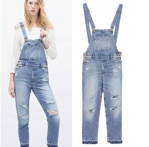 EY0607A Full Length Pinafore Dungaree Overall Baggy Denim pattern jumpsuit women