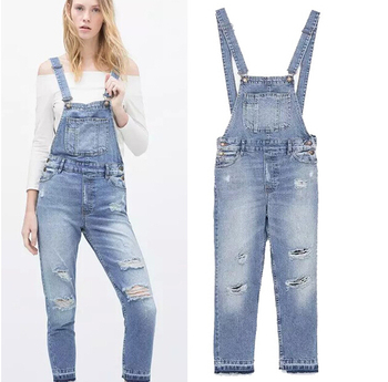 Ey0607a Full Length Pinafore Dungaree Overall Baggy Denim Pattern