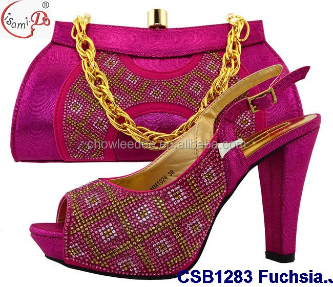 guangzhou supplier CSB1283 Fuchsia italian shoes and bag 2017 top fashion high heel lady shoes and bag in stock