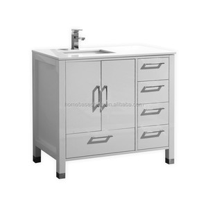 "Hot 36"" White classical wooden bathroom cabinet with five drawers and 2 doors"
