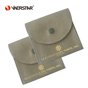 Gold Foil Logo Printed Microfiber Suede Jewelry Pouches with Snap Closure