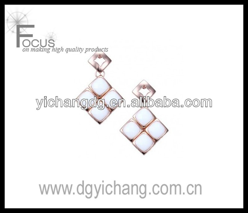 White Ceramic Diamond Shape Earrings