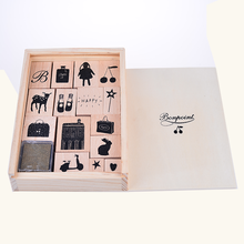 Wood box Wooden stamp set ,children' toy include ink pad