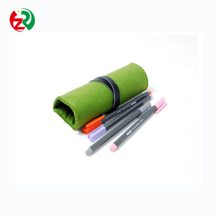 Eco-friendly durable felt pencil pouch /felt pen pouch roll up multicolor felt pen case