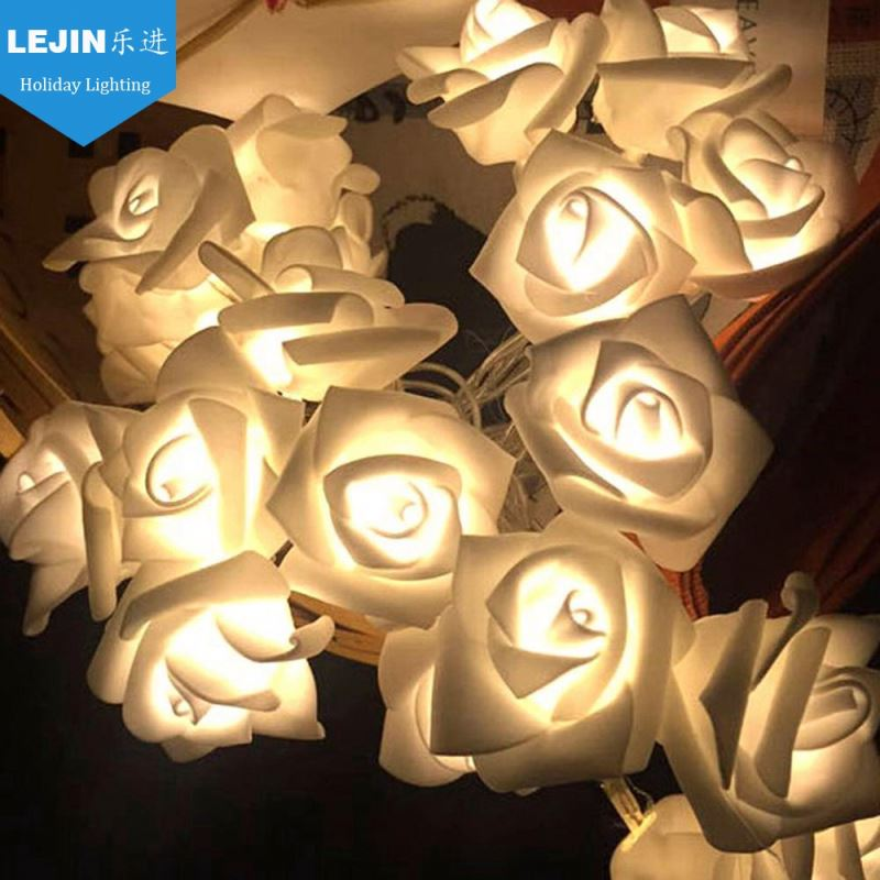 Lejin 2m 20 led rose flower light chain for festival decoration