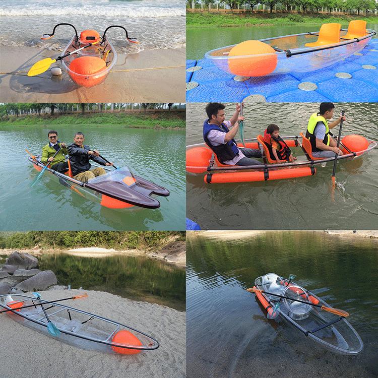 Accesorios transparente libre Kayak Paddle policarbonato Barco de cristal
