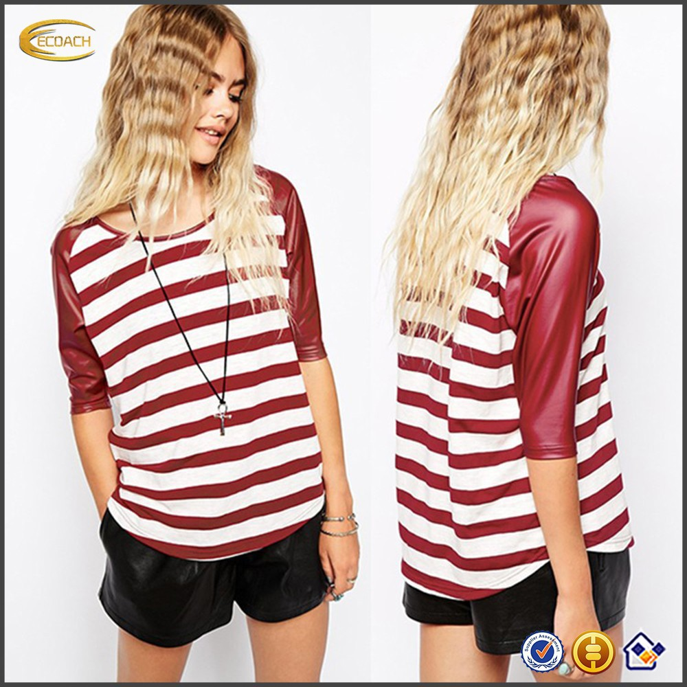 2016 Ecoach New Style OEM Wholesaler PU Sleeves Women Striped 3/4 sleeve raglan t-shirt