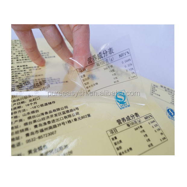 Custom clear adhesive waterproof sticker custom label for nutrition facts