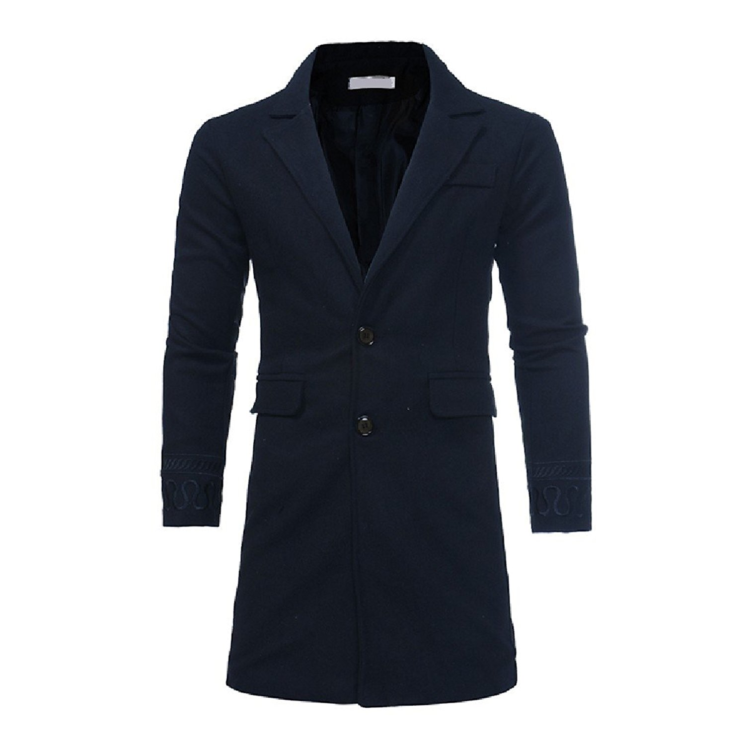 Abetteric Mens Stylish Single-Breasted Wool-Blend Embroidery Long Trenchcoat