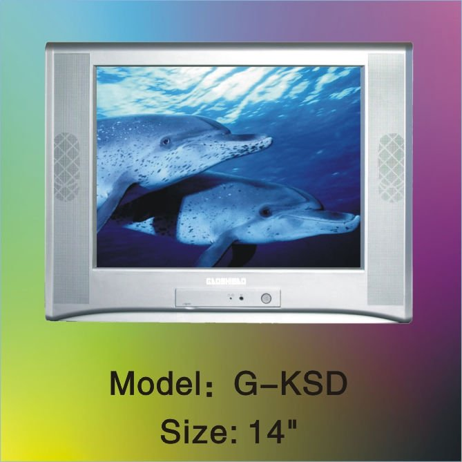 crt tv color television pure flat 21'