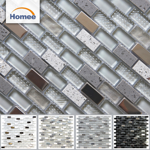 Good Decor China Mix Color Stainless Steel Strip Glass Blend Stone Mosaic