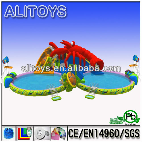 Large inflatable water park with swimming pool