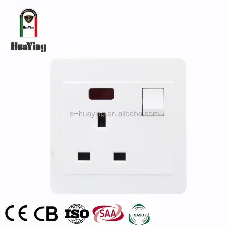 Uk power three wall flat plug sockets face plate british 13a 1 gang 3 pin switch socket with lamp