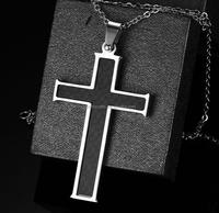 Fashion Jewelry For Men Stainless Steel Black Carbon Fiber Cross Pendant+Chain