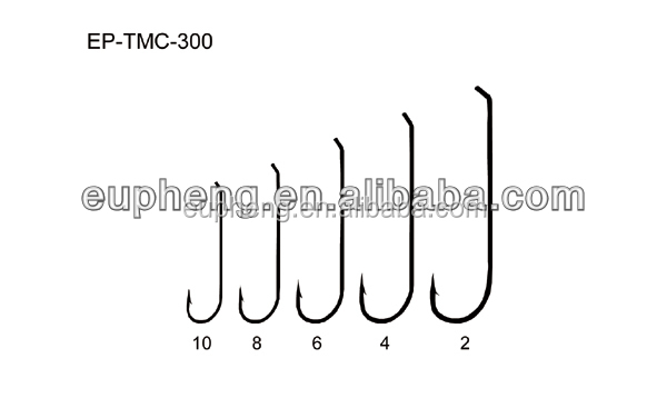Eupheng EP-TMC300 fly fishing hook 6X long shank hook with a bronze finish and turned-down tapered ring eye