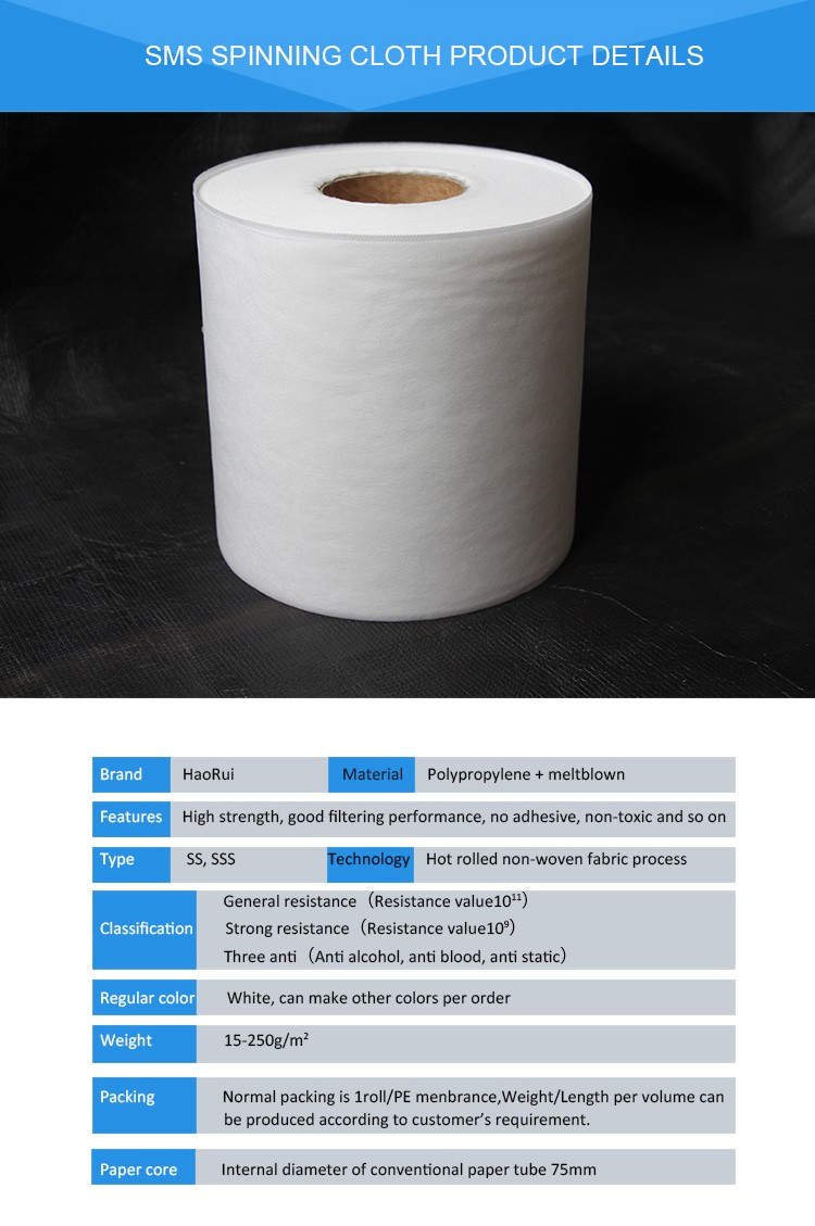 China Supplier Anti-static Non-toxic Sms Polypropylene Spunbond ...